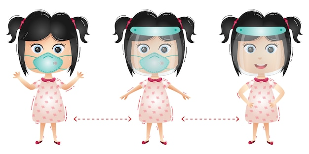Cute girl character using face shield and mask Premium Vector