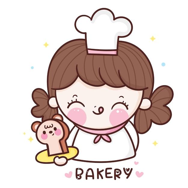 Симпатичная девушка шеф-повар мультфильм держит медведь хлеб пекарня стиль каваи Premium векторы