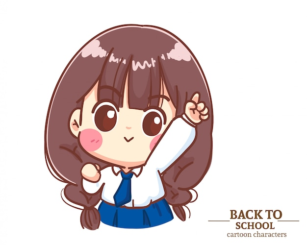 Cute girl children student uniforms raise her hand and pointing finger up back to school. cartoon illustration premium vector Premium Vector