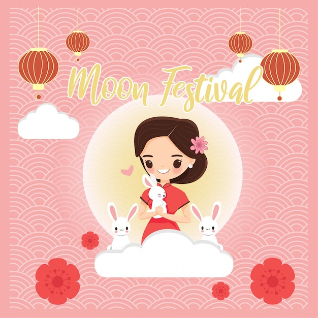 Cute girl in chinese traditional dress with rabbit for moon festival Premium Vector