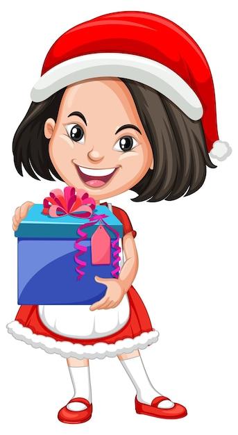 Ragazza carina in costume di natale che tiene il personaggio dei cartoni animati di scatola regalo Vettore gratuito