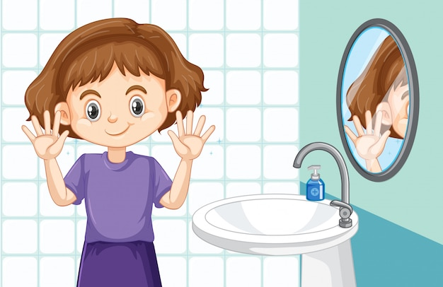 Cute girl cleaning hands in the toilet Free Vector