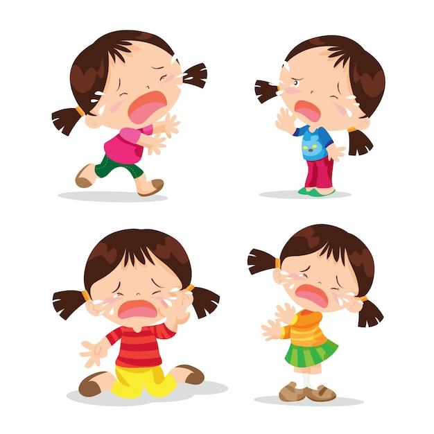 Cute girl crying cartoon Premium Vector