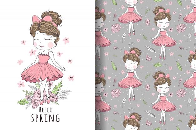Cute girl dancer hand drawn illustration and pattern Premium Vector
