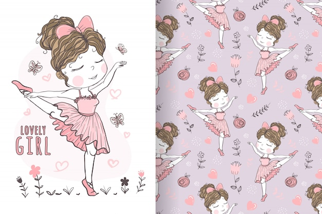Cute girl dancing ballet hand drawn illustration and pattern Premium Vector
