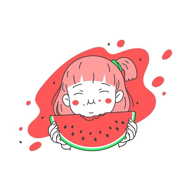 かわいい女の子 夏には新鮮なスイカを食べる シンプルできれいなライン漫画ベクトルイラスト プレミアムベクター