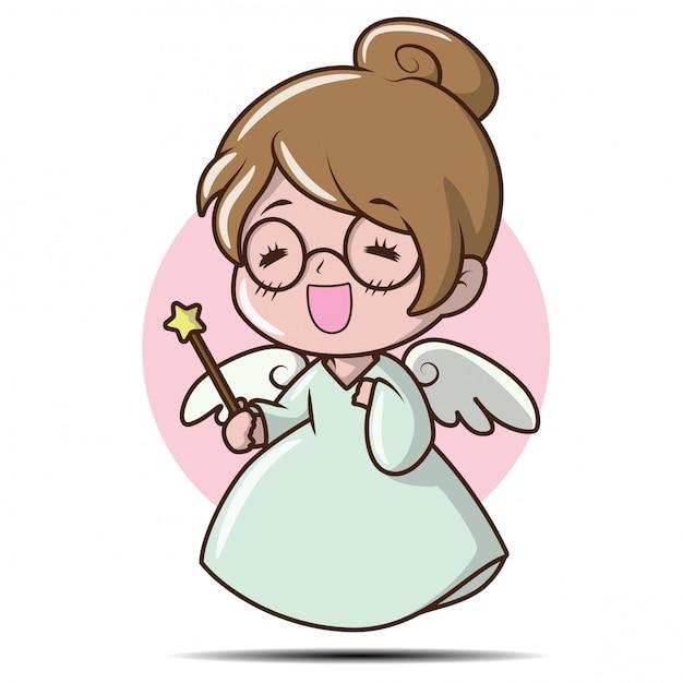 Cute girl in fairy costume., character cartoon Premium Vector