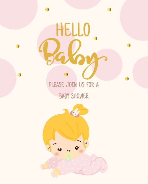 Cute Girl For Baby Shower Invitation Card Design Template Vector