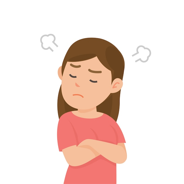 Cute girl gets mad angry fighting with blowing from ears expression, vector illustration. Premium Vector