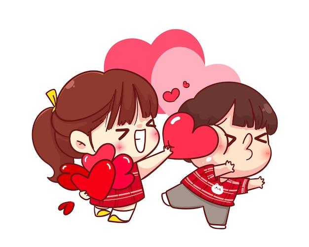La ragazza carina dà il suo cuore al suo fidanzato, buon san valentino, illustrazione del personaggio dei cartoni animati Vettore gratuito