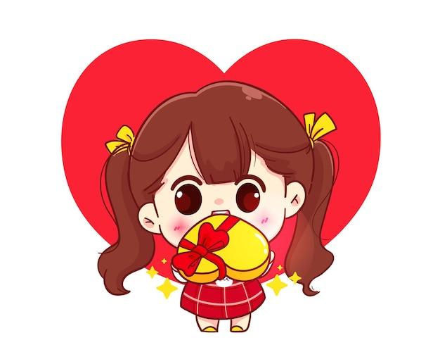 Милая девушка дает подарок, счастливого валентина, мультипликационный персонаж иллюстрации Premium векторы