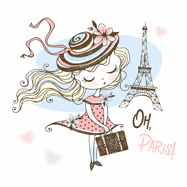 Cute girl in a hat with a suitcase in paris. travel. Premium Vector