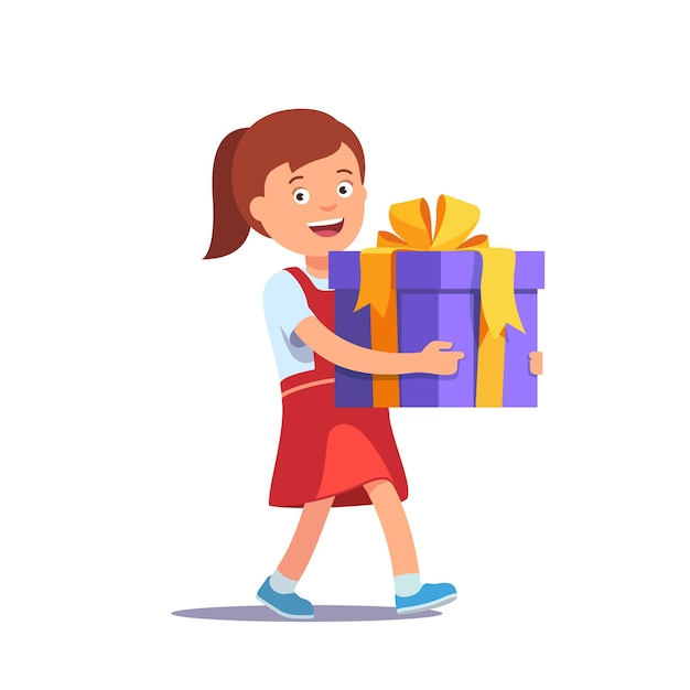 Cute girl holding big ribbon bow wrapped gift box vector free cute girl holding big ribbon bow wrapped gift box free vector negle Image collections