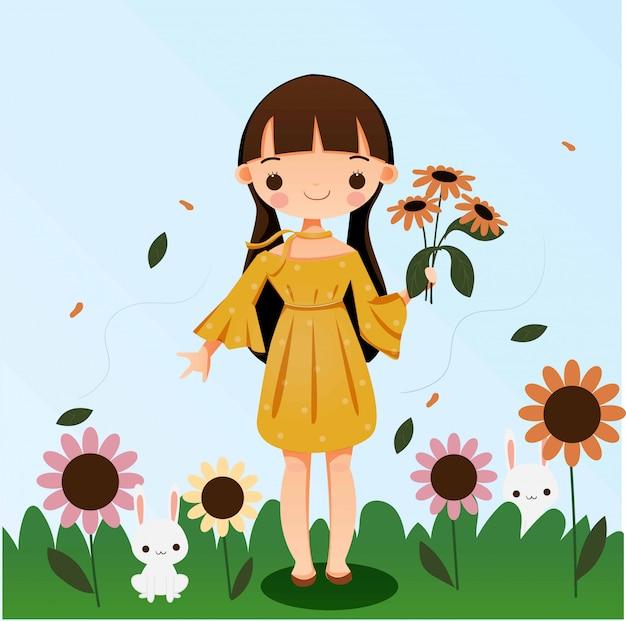 Cute girl holding flower with rabbit cartoon illustration Premium Vector