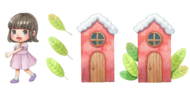 Cute girl, house and leves watercolor cartoon Premium Vector