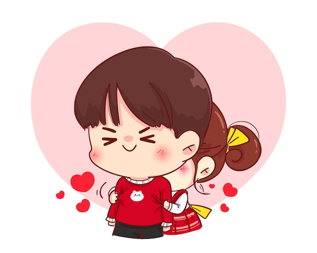 Cute girl hugging her boyfriend from behind, happy valentine, cartoon character illustration Free Vector