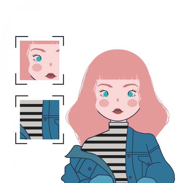 Cute girl illustration with pink hair and blue jeans Premium Vector