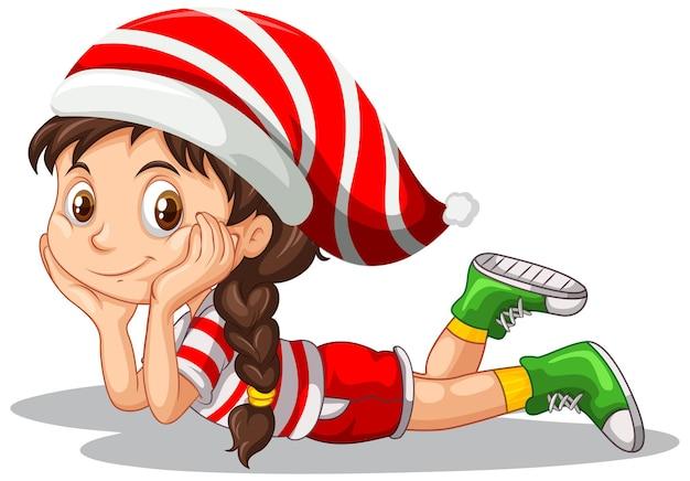 Милая девушка в рождественском костюме мультипликационный персонаж Бесплатные векторы