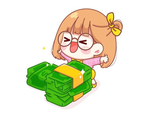 귀여운 소녀는 돈 만화 일러스트를 받게되어 기쁩니다. 무료 벡터