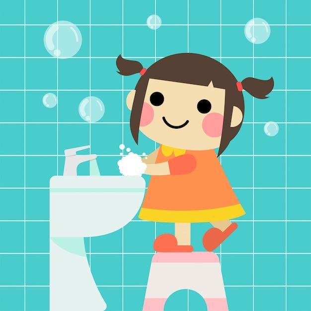 Cute girl is washing hands in the bathroom Premium Vector