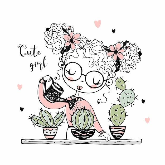 かわいい女の子が鉢植えのサボテンに水をやっています。 Premiumベクター