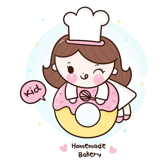 Cute girl kawaii bakery shop logo cartoon for homemade kid dessert Premium Vector