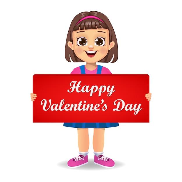 Милая девочка ребенок держит баннер с днем святого валентина Premium векторы