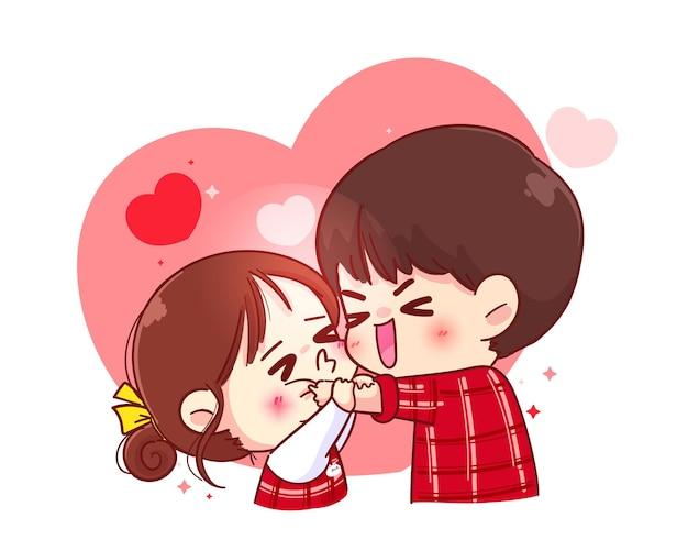 かわいい女の子の頬にキス、幸せなバレンタイン、漫画のキャラクターイラスト Premiumベクター