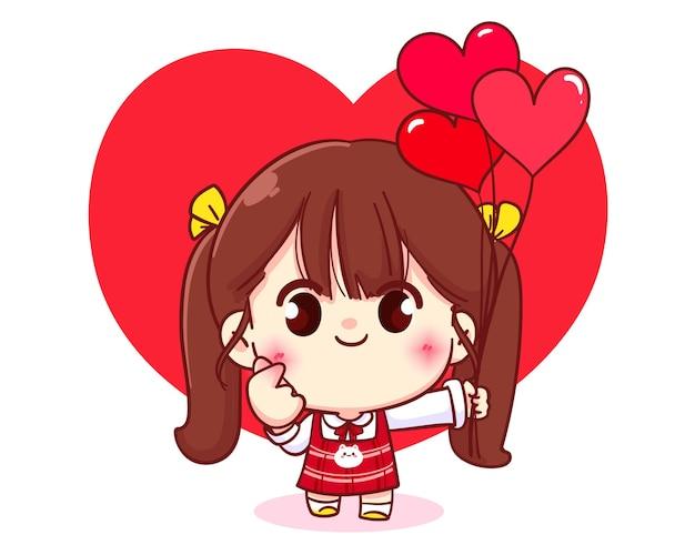 彼女の手でハートを作るかわいい女の子、幸せなバレンタイン、漫画のキャラクターイラスト 無料ベクター