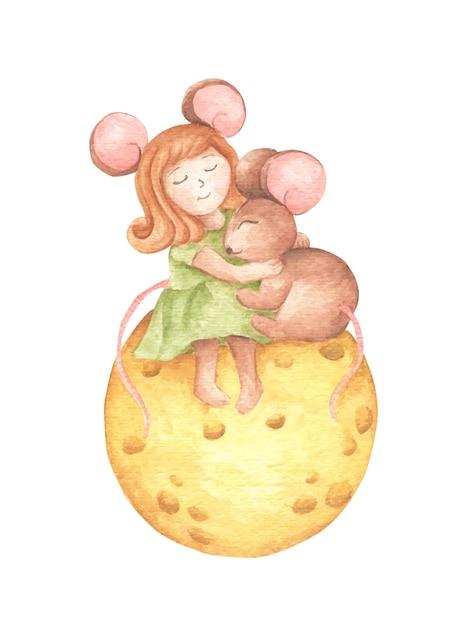 Симпатичная мышка девушка обнимает мышку, сидящую на сырной луне. акварель рука рисовать. Premium векторы