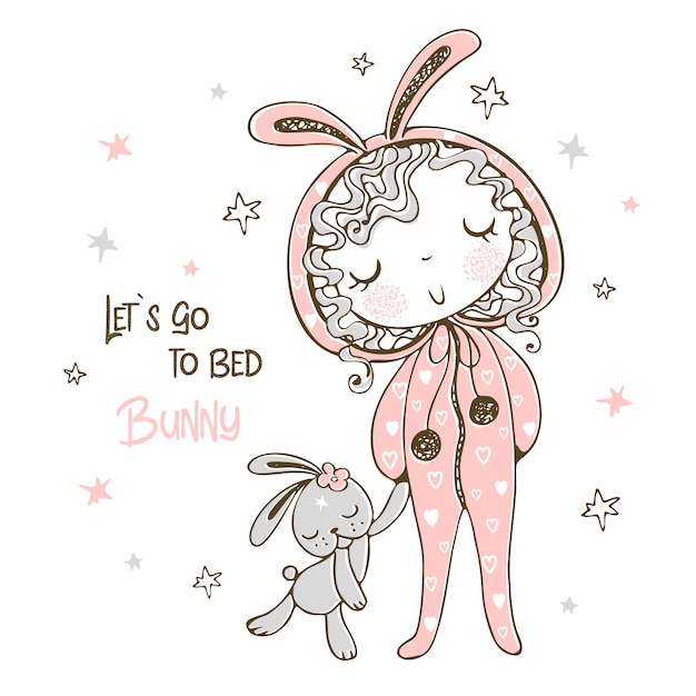Cute girl in pajamas in the form of a bunny is going to sleep with a toy. Premium Vector