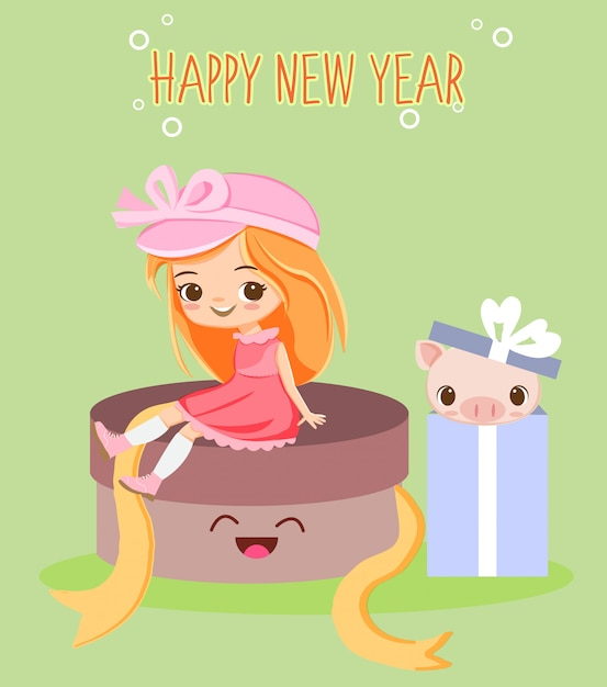 Cute girl and pig in the gift box for new year greeting ...