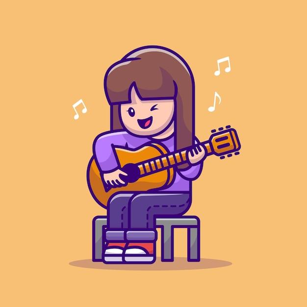 Cute girl playing guitar cartoon vector  illustration. Free Vector