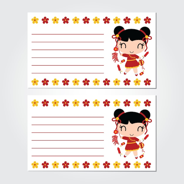 cute girl plays firecrackers on flower border vector cartoon for chinese new year card premium vector