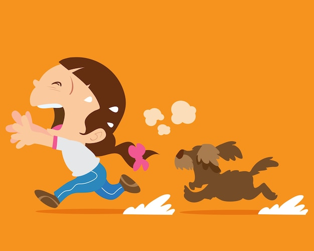 Cute girl running away from angry dog Premium Vector
