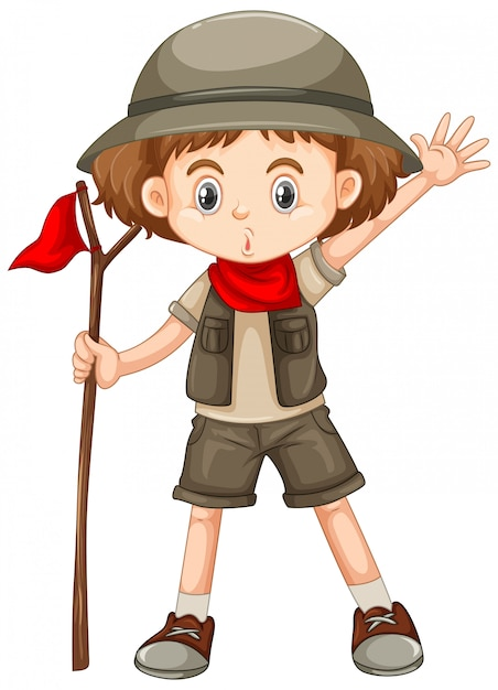 Cute girl in safari outfit holding stick on white Free Vector