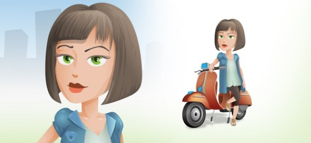 Cute girl on scooter vector character Vector | Free Download