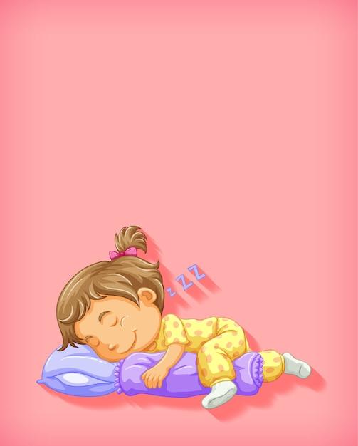 Ragazza sveglia che dorme personaggio dei cartoni animati isolato Vettore gratuito