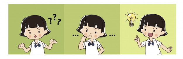 Cute girl in thai student uniform is thinking and got the idea. Premium Vector