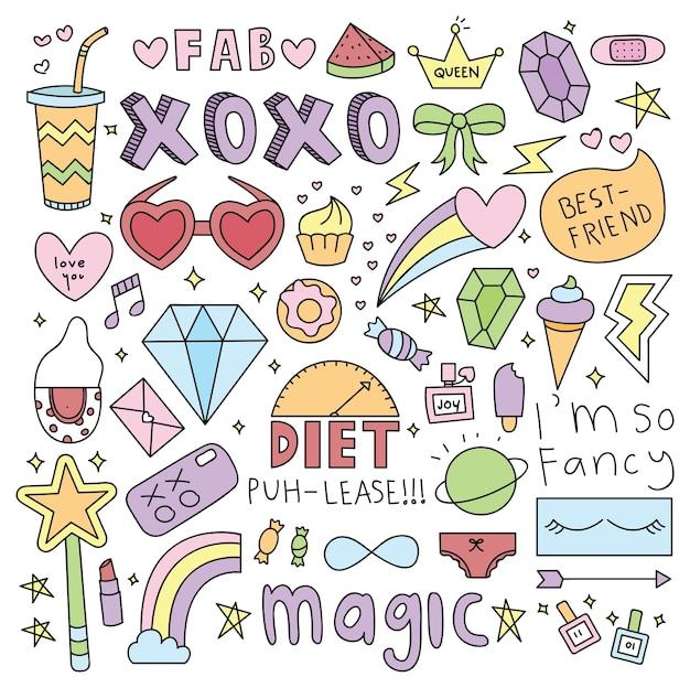 Cute girl things doodle element Premium Vector