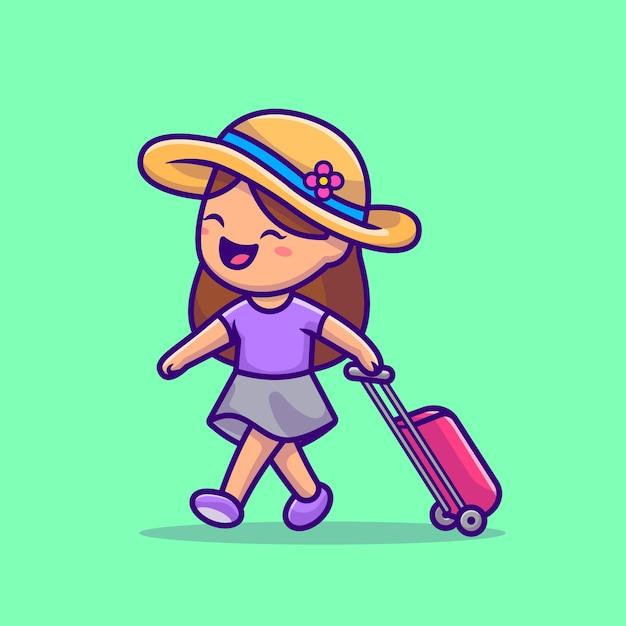 かわいい女の子の旅行漫画イラスト。人の休日のアイコンの概念 無料ベクター