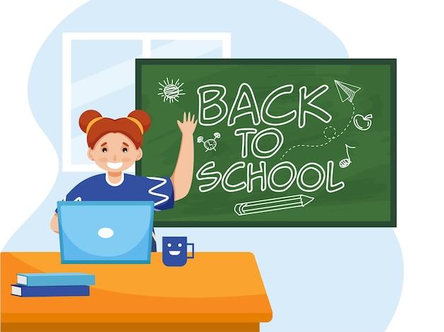 かわいい女の子は、緑の黒板に学校に戻るテキストを示すテーブルでノートパソコンを使用します。 Premiumベクター