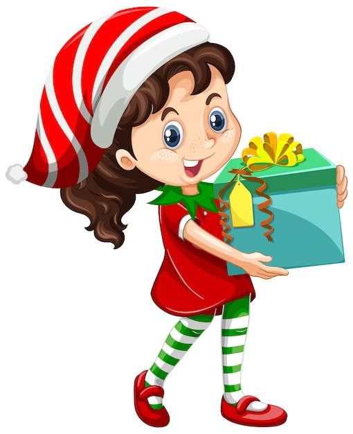 クリスマスの衣装の漫画のキャラクターを身に着けているかわいい女の子 無料ベクター