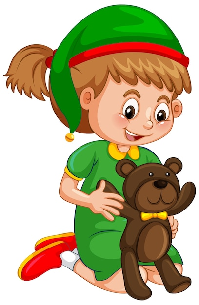 Cute girl wearing christmas hat and holding teddy bear on white Free Vector
