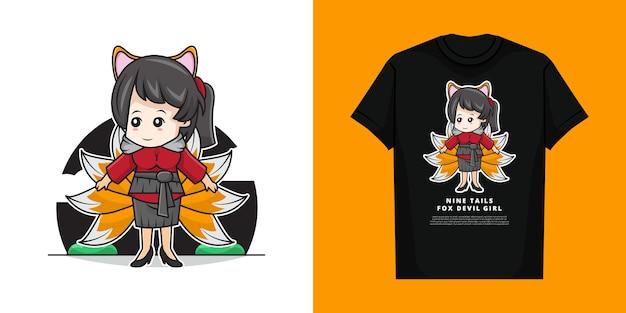 Tシャツと9尾キツネ悪魔衣装を着てかわいい女の子 Premiumベクター