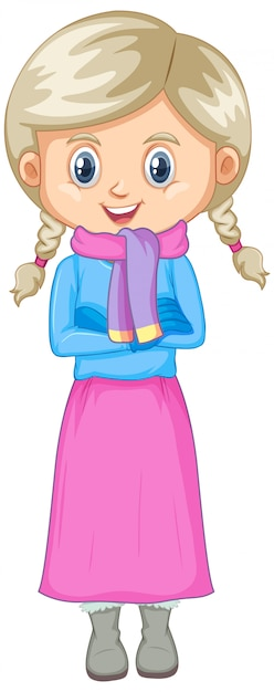 Cute girl in winter clothes isolated Free Vector