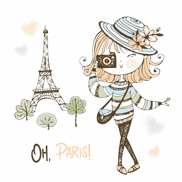Cute girl with a camera in paris. travel. Premium Vector