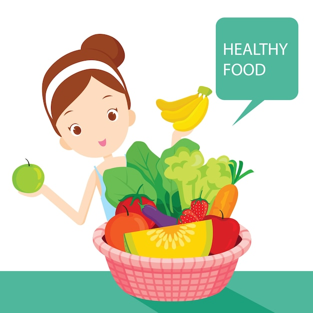 Cute girl with clean foods, fruits and vegetables in basket, healthy food Premium Vector