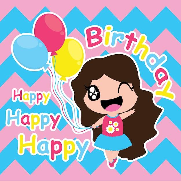 Cute girl with colorfull balloons on chevron background vector cute girl with colorfull balloons on chevron background vector carton for kid birthday card stopboris Choice Image