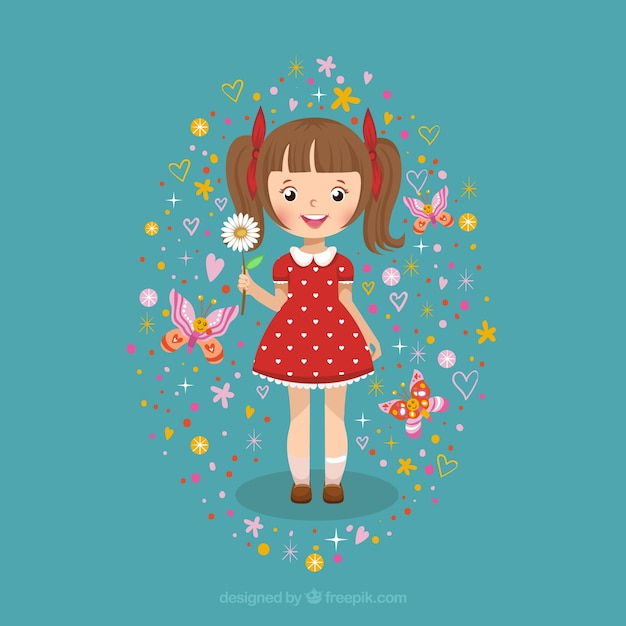 Cute girl with a daisy Free Vector